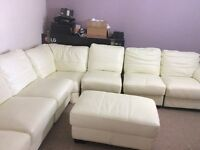 7 seater cream leather corner settee and foot stool
