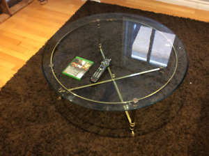 Brass & Tempered Glass  Coffee Table
