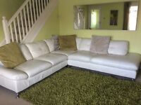 6 Seater White Leather Corner Sofa