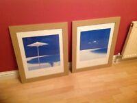 John Miller framed pictures Summer sandbar and May Estuary