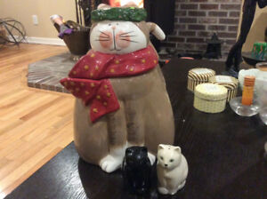 Cat cookie jar and salt and pepper shakers.