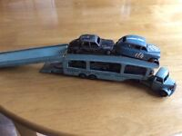 Dinky Transporter + Four Period cars
