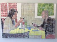 Acrylic painting of diners with mobile phones