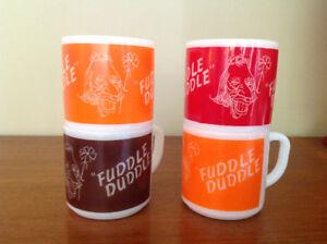 "4 VINTAGE FEDERAL GLASS ""FUDDLE DUDDLE"" COFFEE MUGS"