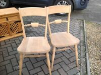 Pair of solid wood dining/occasional chairs