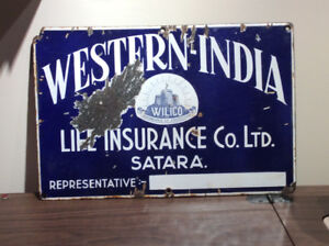 Antique porcelain WESTERN-INDIA LIFE INSURANCE Co. steel sign !