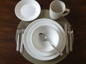 6 PLACE SETTINGS CORELLE DISHES & STAINLESS FLATWEAR
