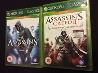 6 Assassins Creed xbox 360 games.