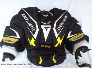 Goalie Chest Protectors: Inter-Med to Inter Lrg from $75 to $100