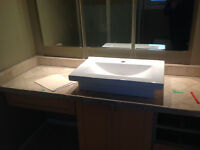Large White Vanity Sink -vessel mount or in counter mount