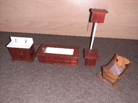 Various wooden dolls house furniture