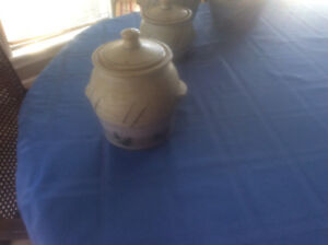 Beautiful pottery canister set for sale