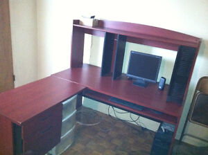 3 piece office computer desk with old school chair