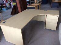 Oak L/Shape desk with pedestal