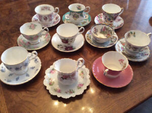 Royal Albert and Aynsley cups and saucers