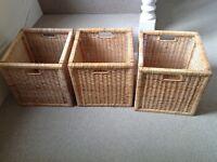Three IKEA wicker baskets