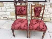 Antique Carved Edwardian Dinning Chairs x 2In Lovely Vintage Condition