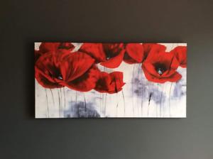 Cadre fleurs coquelicots, blanc/rouge