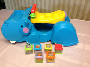 Fisher Price Gobble and Go Hippo with peek a boo blocks