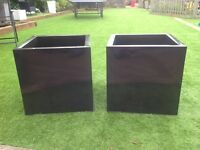 Pair of 50cm x 50cm x 50cm cube galvanised pewter planters