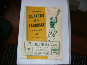CORNWALL LACROSSE 1947 PROGRAM  vs  VERDUN
