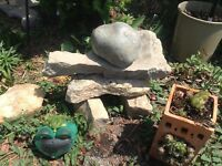 Inuksuk A Inuit Stone Sculpture  2 Planters- Hen n Chicks