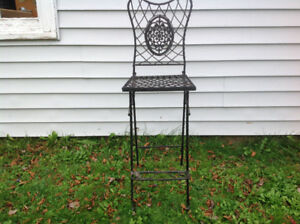WROUGHT IRON HIGH BACK BAR STOOL