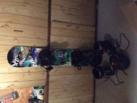 Like new board, boots,helmet and googles. 56in board 8 boot