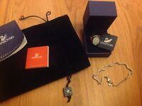Swarovski crystal pearl ring with bracelet hallmarked great gift