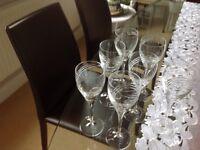 7 Tall stemmed wine glasses