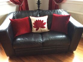 Large, modern chunky leather sofas (3 seater & 2 seater)