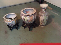Asian style fishbowl planters and vase