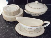 Royal worcester gold Chantilly set Plates Sauce Boat & Tureen