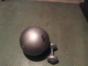 10 pound dumbbell weight and small fitness ball