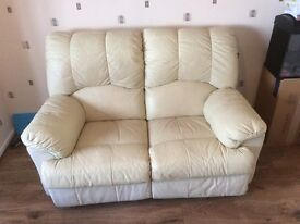 Leather three seater and two seater sofa