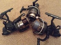 Joblot/Bundle of 3 Size 60 Lineaeffe Carp Baitrunner Reels All Spooled With Line