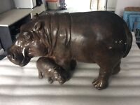 Large wood effect hippo with baby statue - unique item.