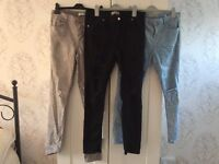 3 pairs of distressed jeans