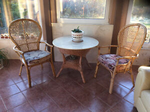 Wicker rattan table and 4 chairs