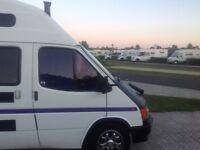 Ford transit 4 birth camper van with log burner solar panel LOOK