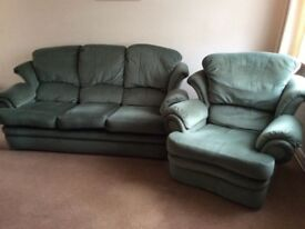 G Plan settee sofa couch and reclining armchair green