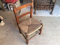 Child's Oak Rush Seat Ladderback Chair
