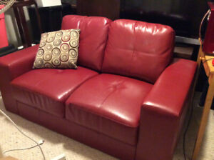 RED leather-like 2 seater