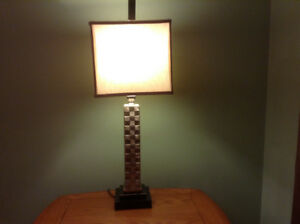 Table lamp with silk shade