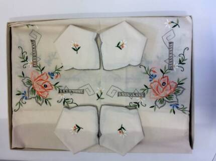 Vintage Embroidered Linen Table setting