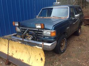 1989 Ford Bronco Custom Truck Snow Plow Myers