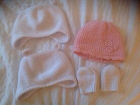 Baby girl hat and mitten bundle Mothercare 7 items perfect condition