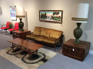 Mid century teak credenza buffet hutch tables chairs lamps