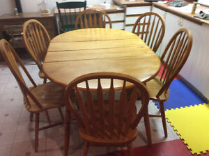 Solid maple extendable kitchen table and six chairs $145.00