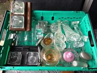 Vintage glass ware ink wells etc £15 the lot